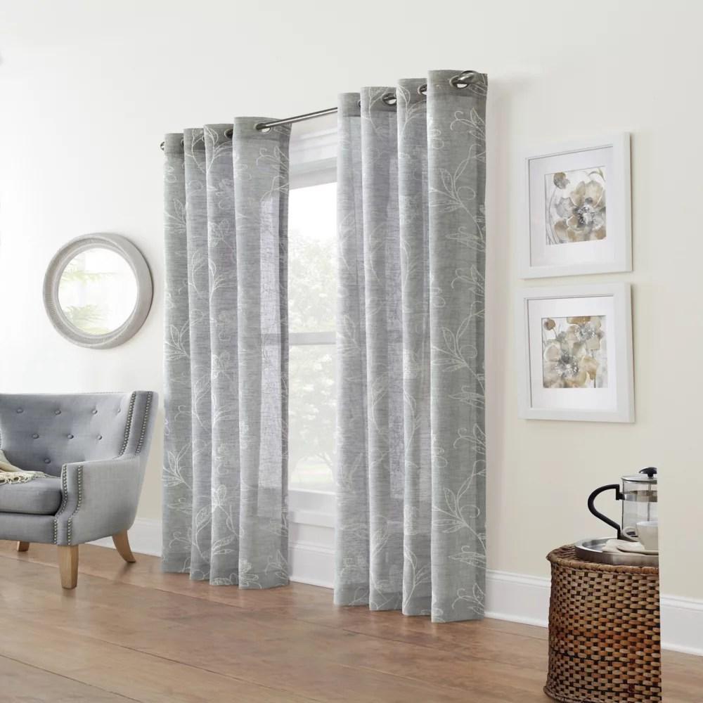 augusta sheer grommet curtain panel 52 w x 84 l in silver