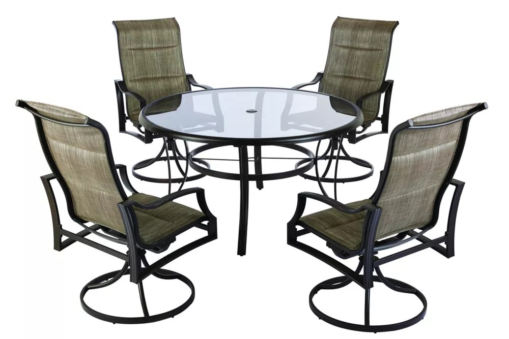statesville 5 piece padded sling patio dining set with 53 inch glass top