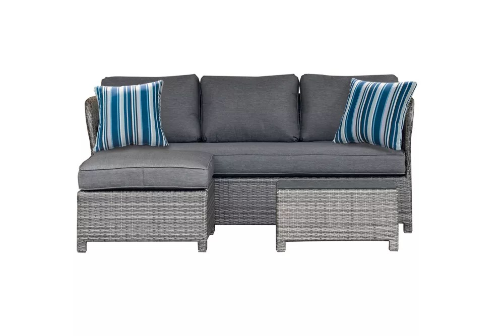 napa 3 piece woven patio sectional with charcoal cushions