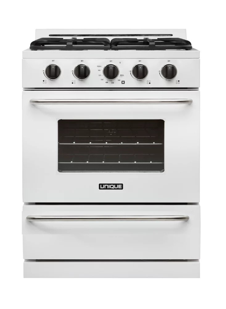 30 inch 3 9 cu ft propane off grid range with battery ignition sealed burners in white