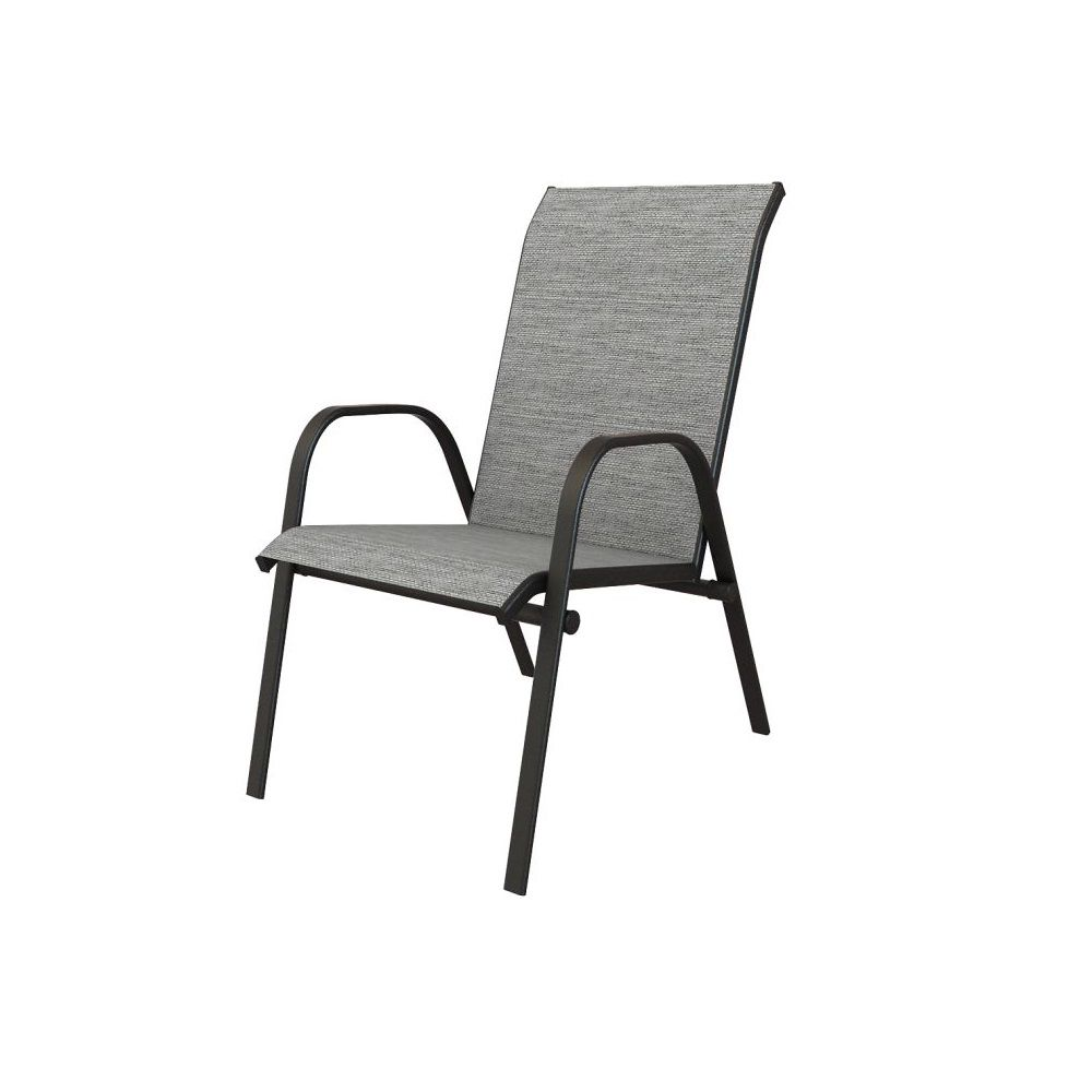 plymouth black stackable sling patio dining chair in wet cement 2 pack
