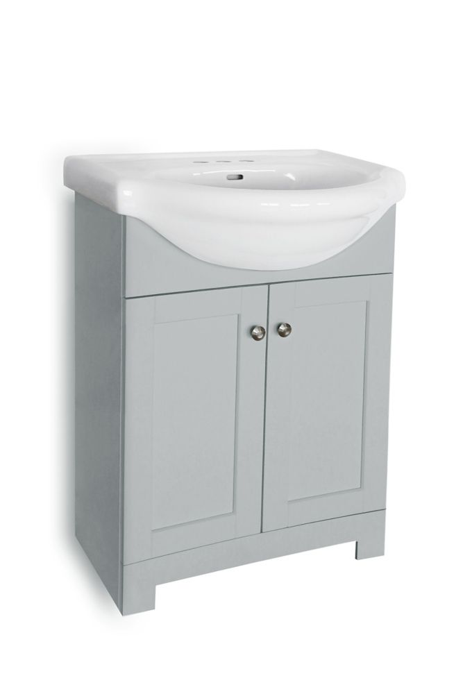 clancey 24 inch vanity in grey with white basin
