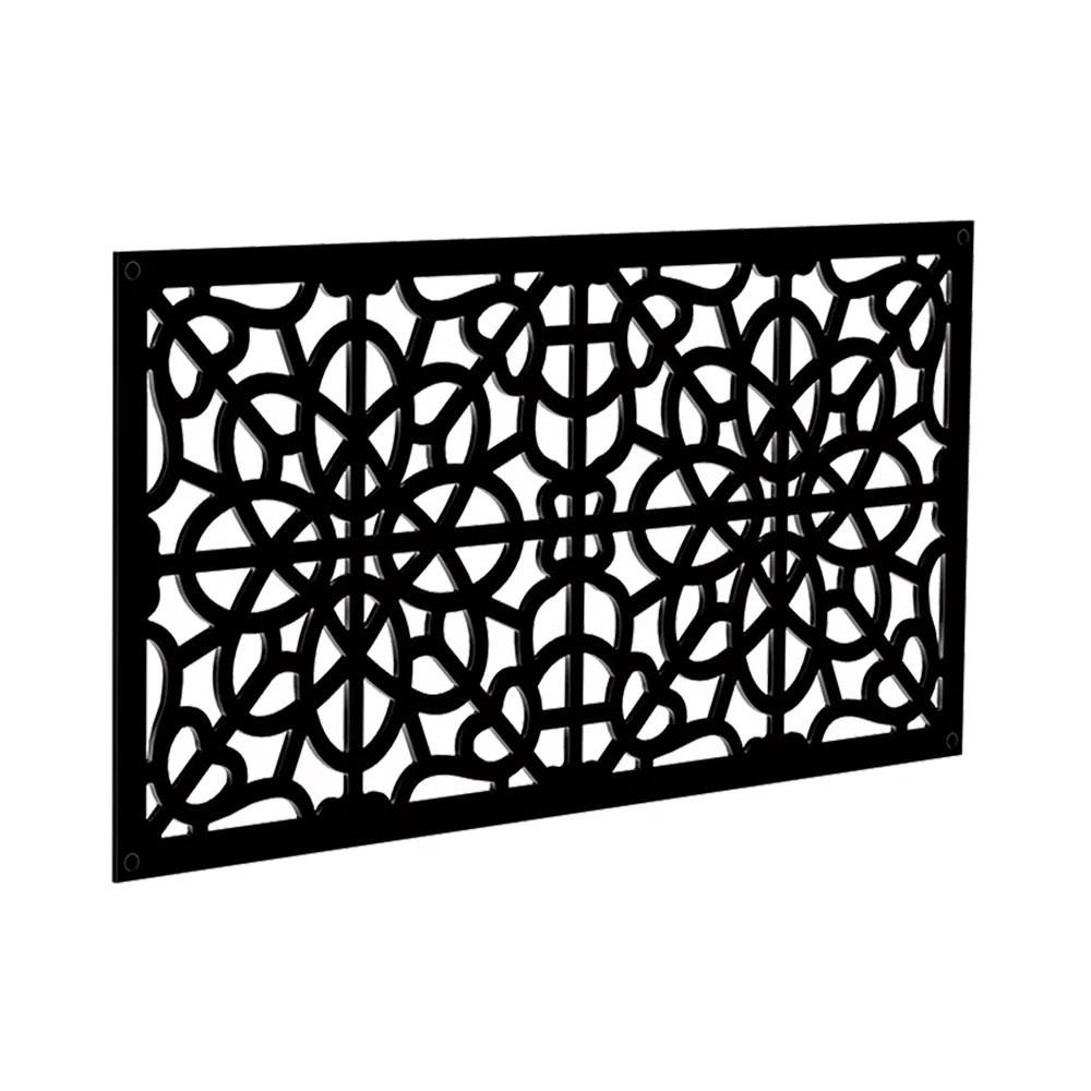 fretwork 2 ft x 4 ft decorative screen panel in black