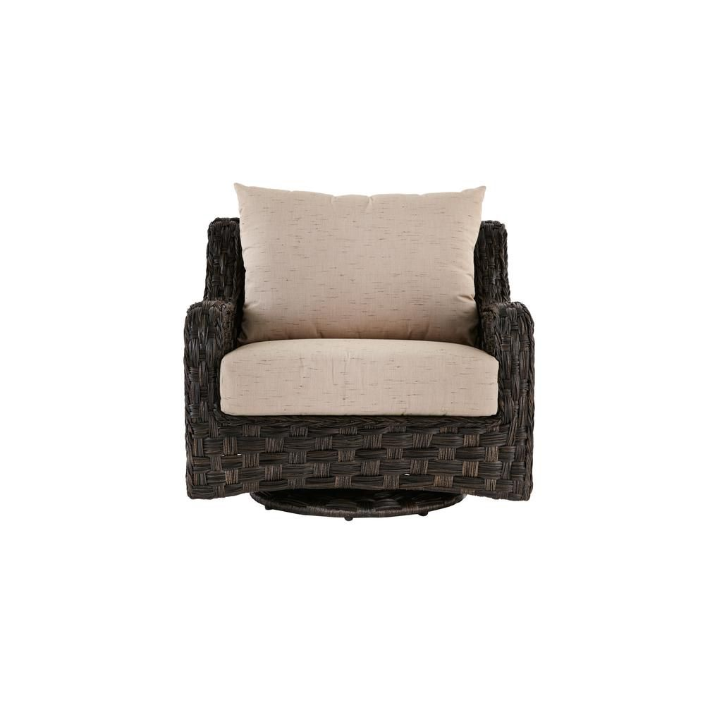 sunset point outdoor patio swivel glider lounge chair with sand cushions