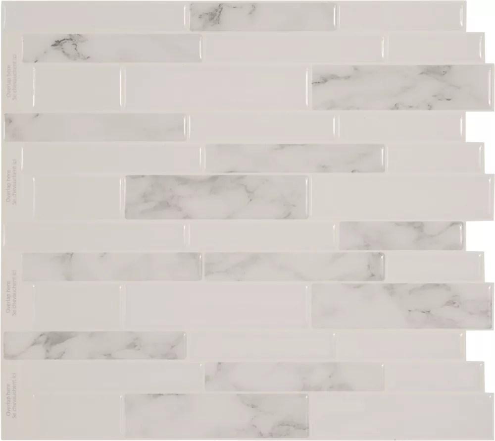 peel and stick backsplash white marble tile 11 25 inch x 10 inch 4 tile pack