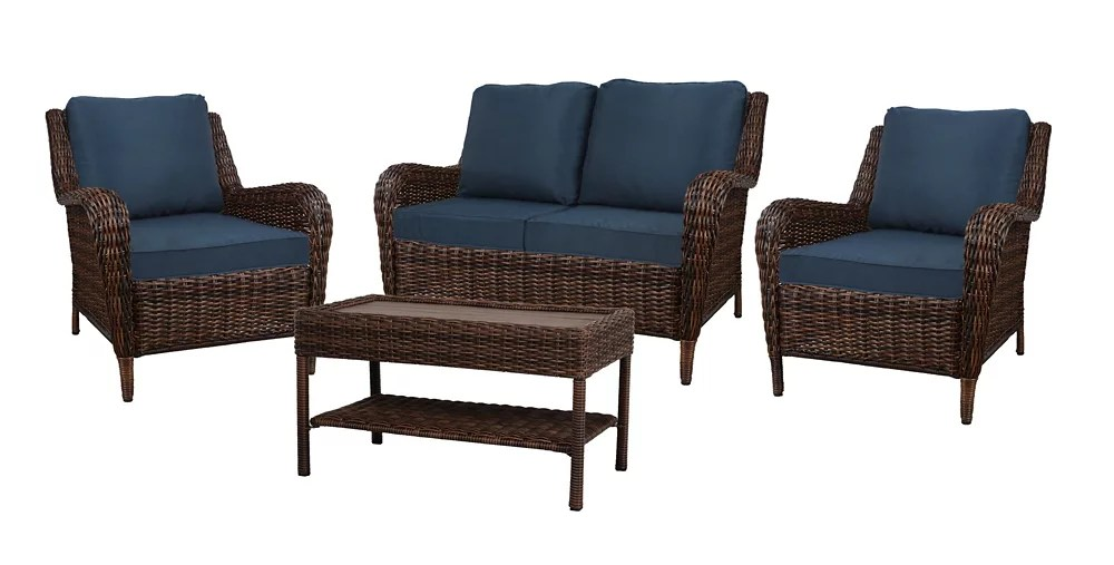 cambridge brown wicker 4 piece set with blue cushion