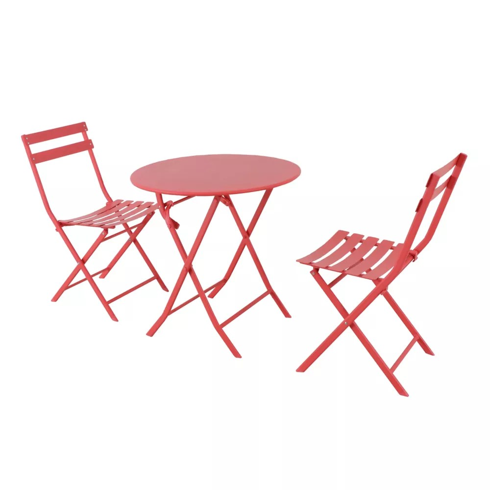 follie red 3 piece patio bistro set