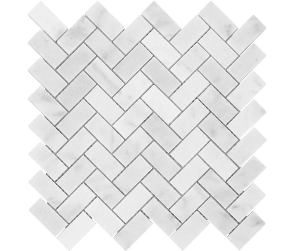 carrara herringbone 1 inch x 2 inch polished marble mosaics