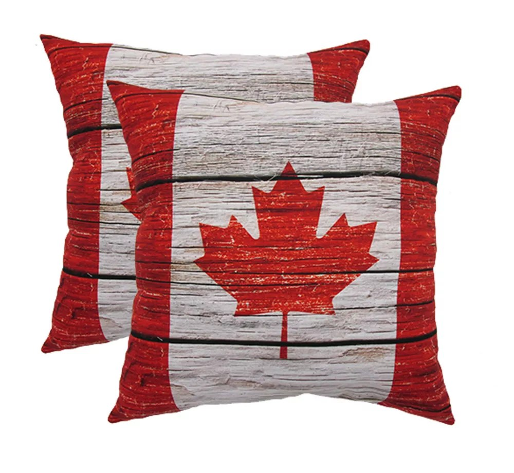 20 inch x 20 inch wood canada flag pillow 2 pack