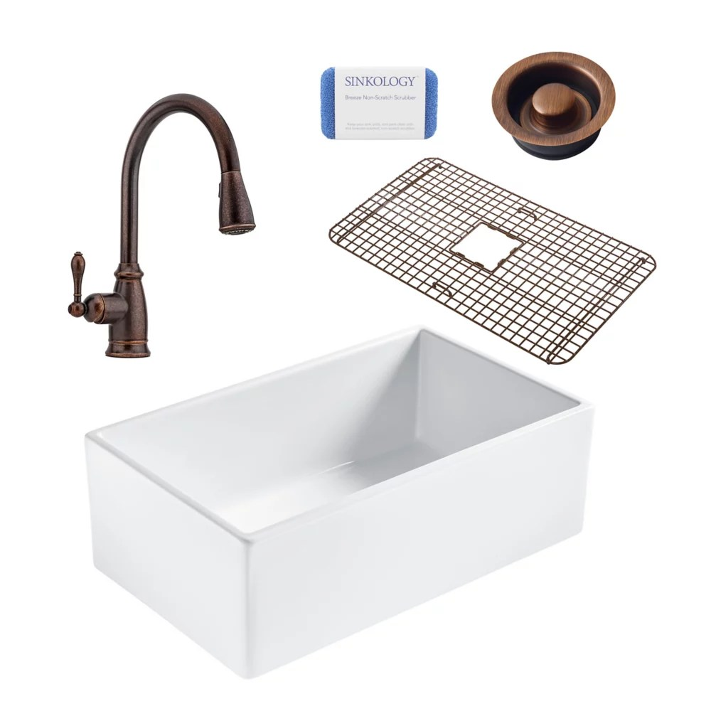 bradstreet ii farmhouse fireclay 30 in single bowl kitchen sink pfister canton faucet and disposal