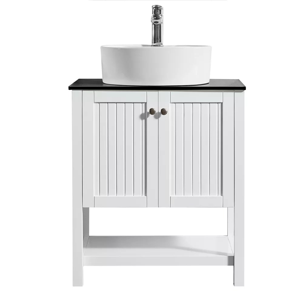 modena 28 inch vanity in white with glass countertop with white vessel sink without mirror