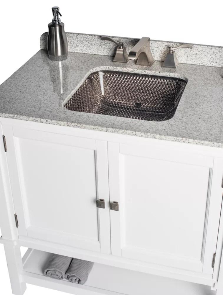 white ashlyn single vanity with white undermount top platinum cubix undermount sink