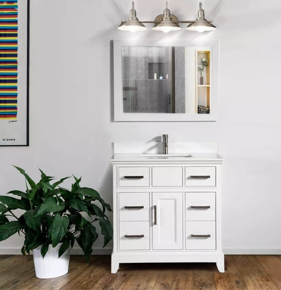 genoa 36 inch vanity in white with single basin vanity top in white phoenix stone and mirror
