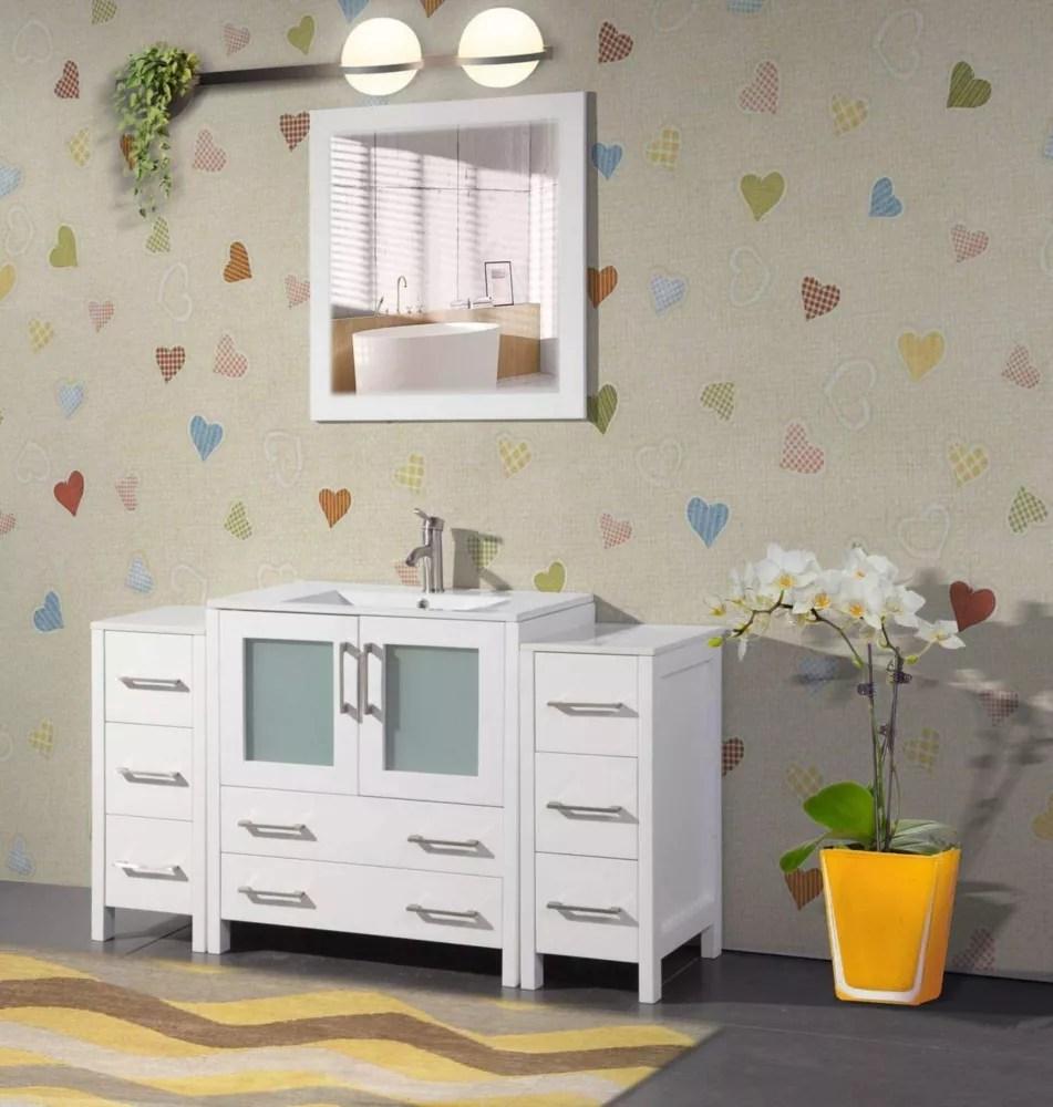 brescia 54 inch bathroom vanity in white with single basin vanity top in white ceramic and mirror