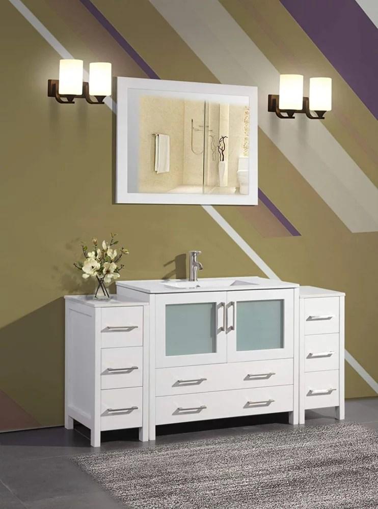 brescia 60 inch bathroom vanity in white with single basin vanity top in white ceramic and mirror