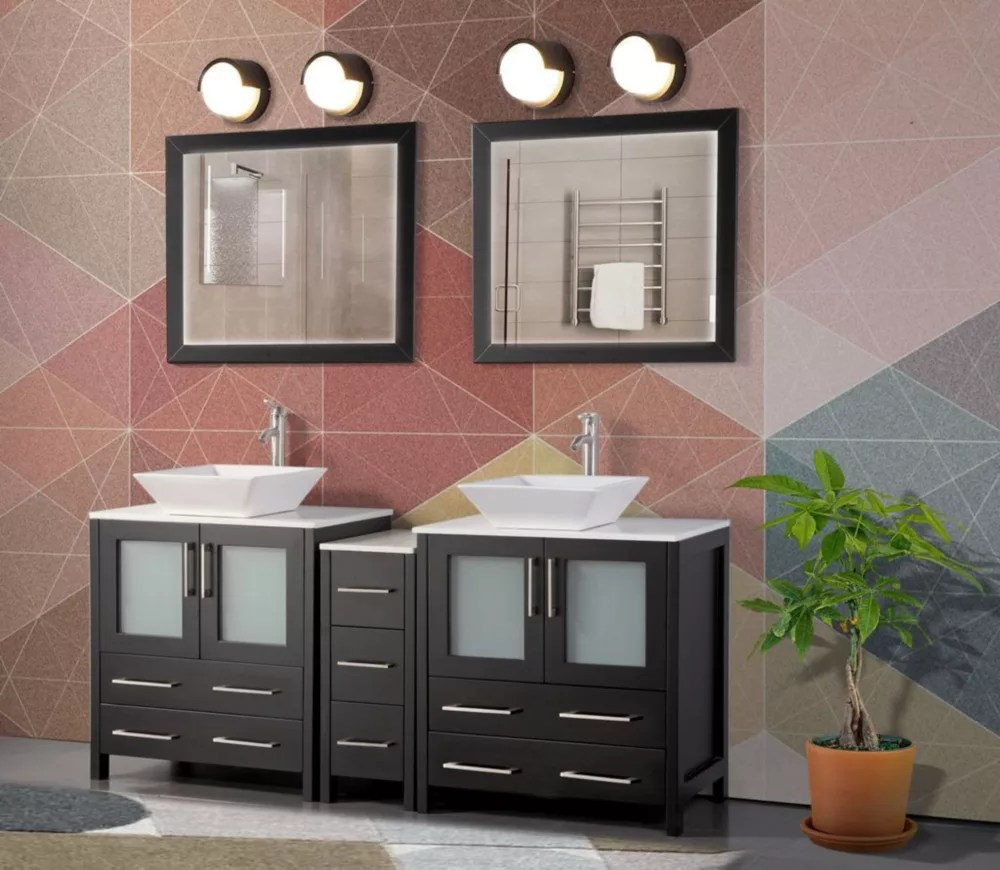 ravenna 72 inch bathroom vanity in espresso with double basin vanity top in white ceramic and mirror