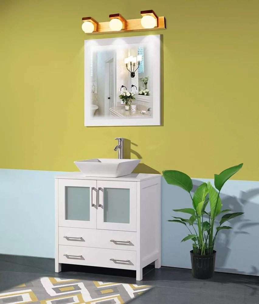 ravenna 30 inch bathroom vanity in white with single basin vanity top in white ceramic and mirror