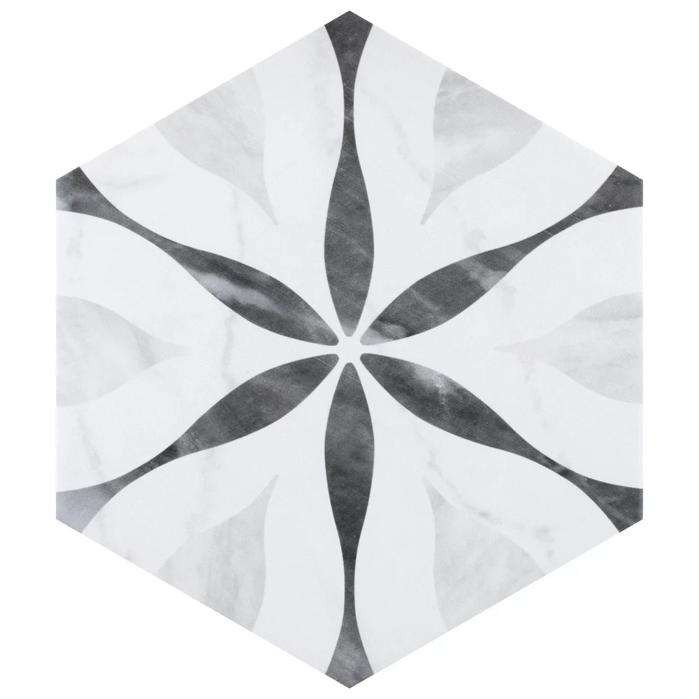 classico bardiglio hexagon flower 7 inch x 8 inch porcelain floor and wall tile 7 67 sq ft case