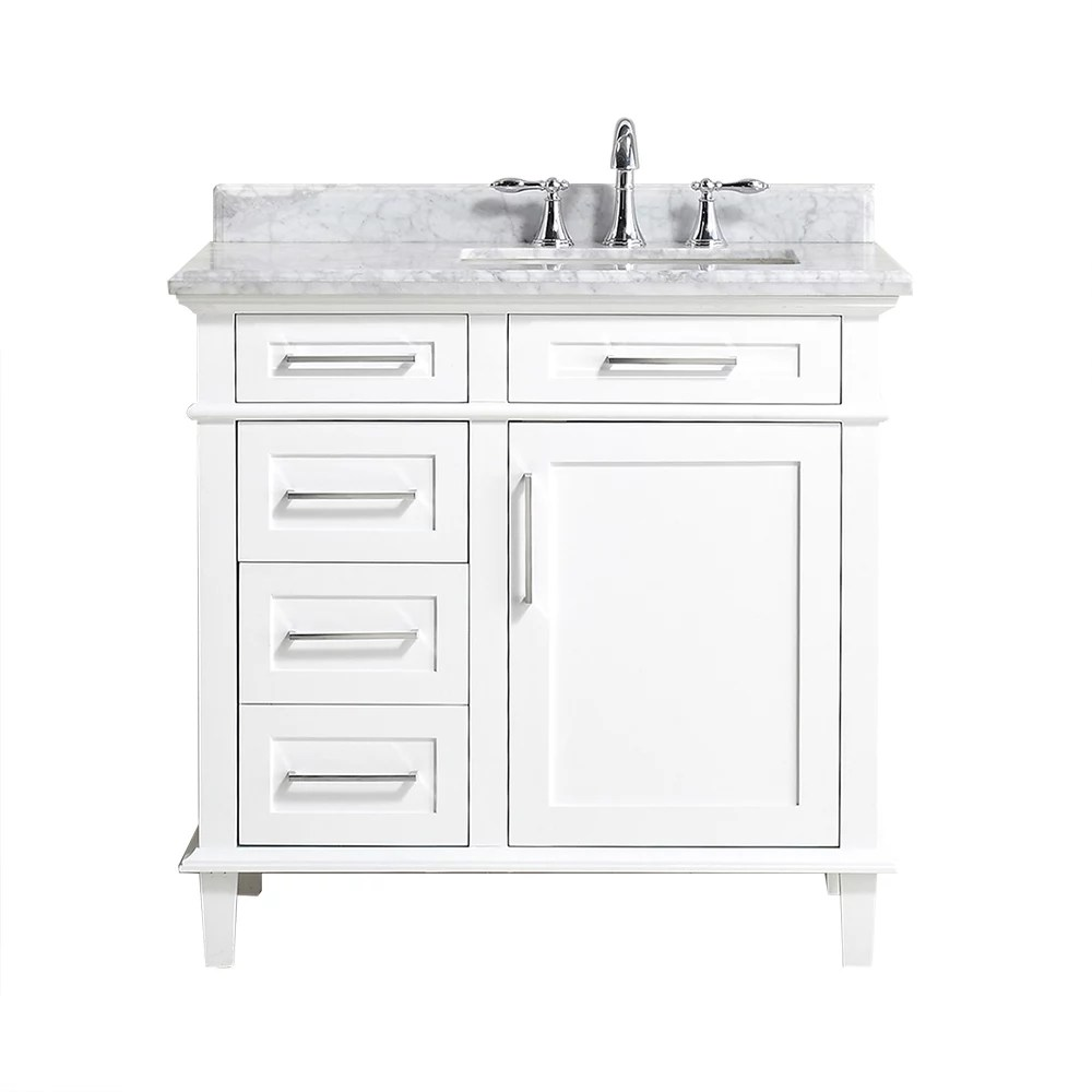 sonoma 36 inch w x 22 inch d bath vanity in white with carrara marble top with white sinks