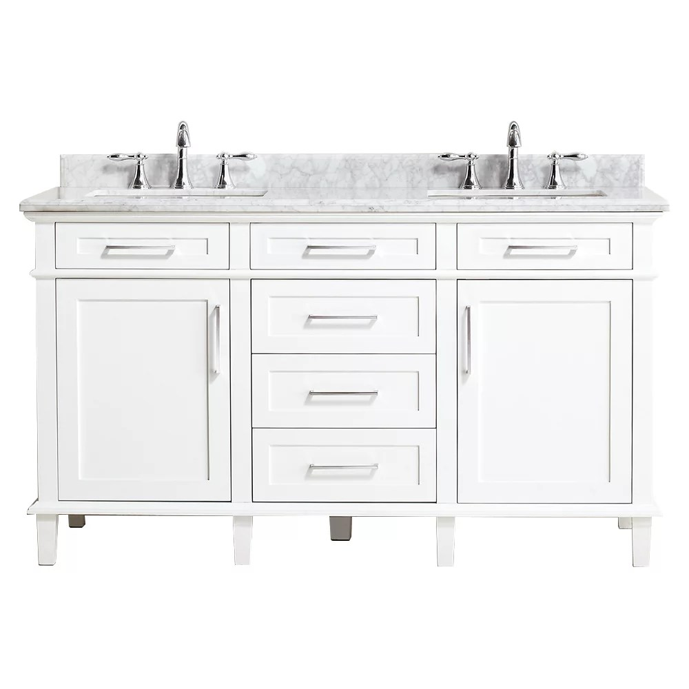 sonoma 60 inch w x 22 inch d double bath vanity in white with carrara marble top with white sinks