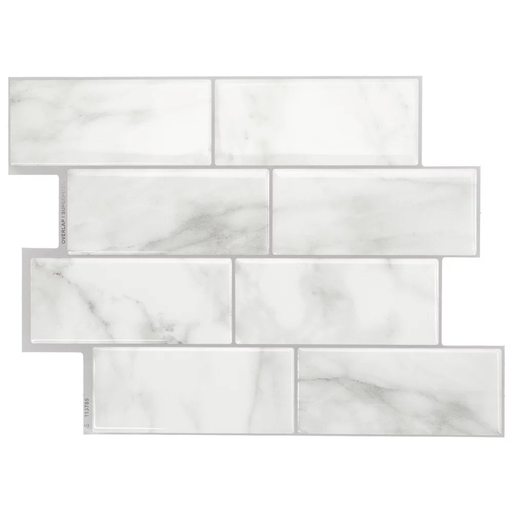 metro carrera 11 56 inch w x 8 38 inch h grey peel and stick decorative wall tile 4 pack