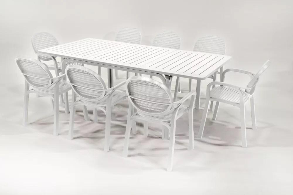 9 piece alloro gardenia patio set white