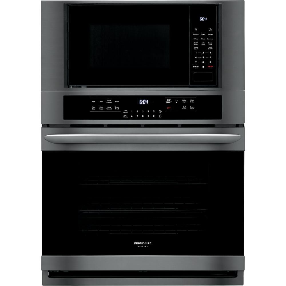 30 inch 5 1 cu ft electric true convection wall oven with built in microwave in black stainless steel