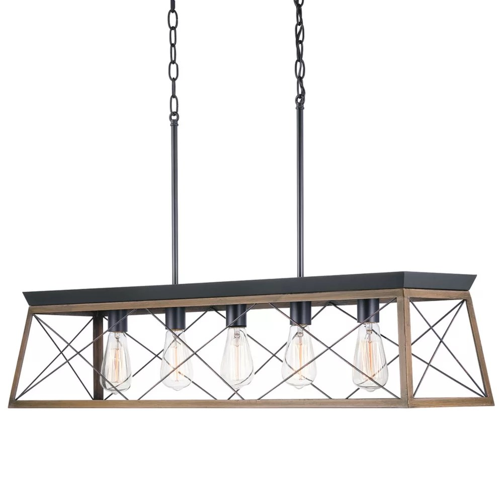 briarwood 5 light black chandelier with rich oak accents