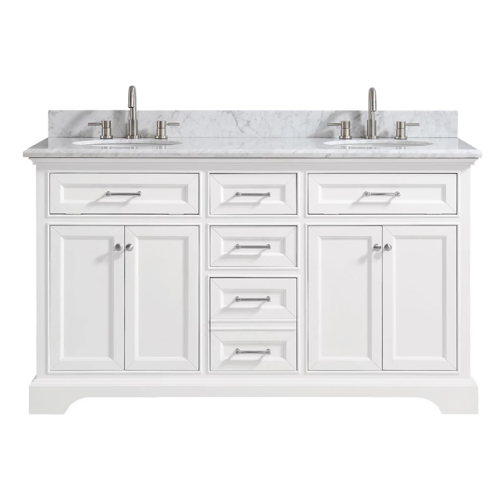 windlowe 61 inch w x 22 inch d x 35 inch h bath vanity in white with carrera marble vanity top in white with white sink