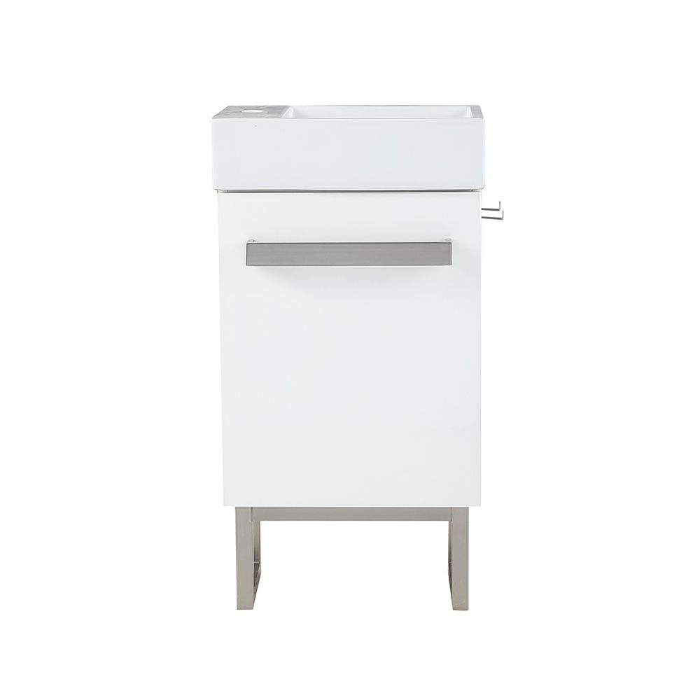 woodmoore 19 inch w x 10 inch d vanity in gloss white with integrated vanity top in white with white sink and mirror