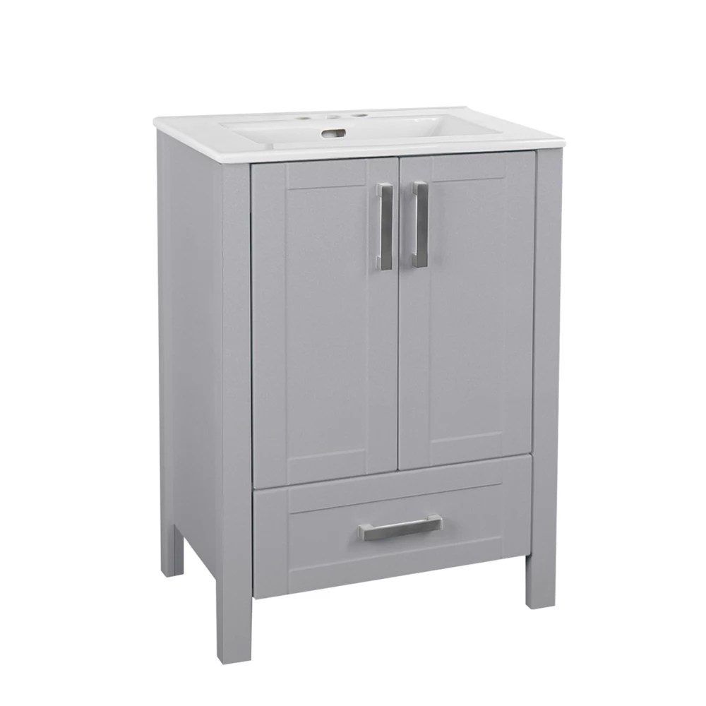 delchester 24 inch vanity in grey with thin ceramic top