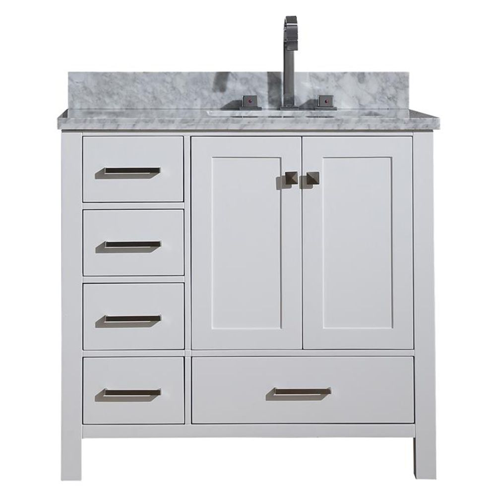cambridge 37 inch right offset single rectangle sink vanity in white