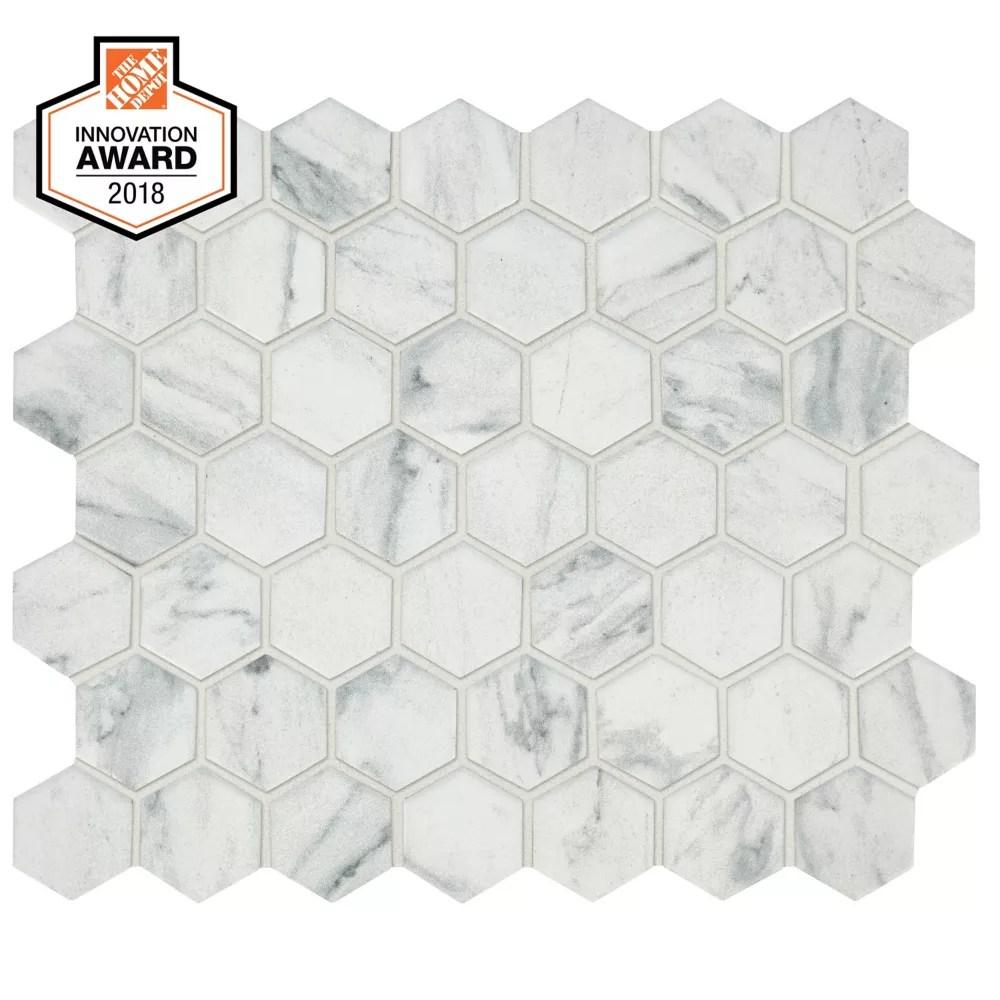 carrara 10 inch x 12 inch x 6 mm ceramic hexagon mosaic tile 0 81 sq ft piece