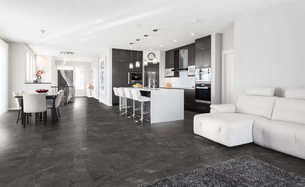 trentino graphite 12 inch x 24 inch polished rectified porcelain tile