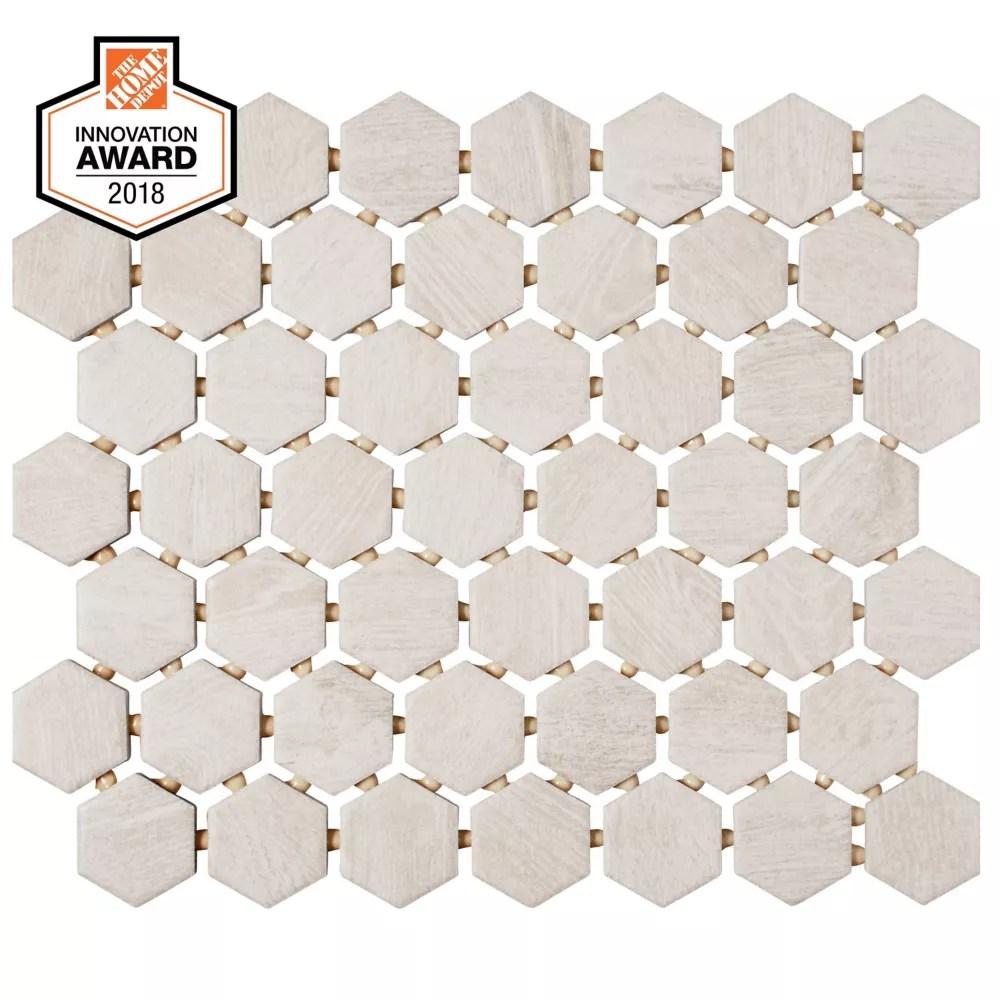 fog wood 10 inch x 12 inch x 6 mm ceramic hexagon mosaic tile 0 81 sq ft piece