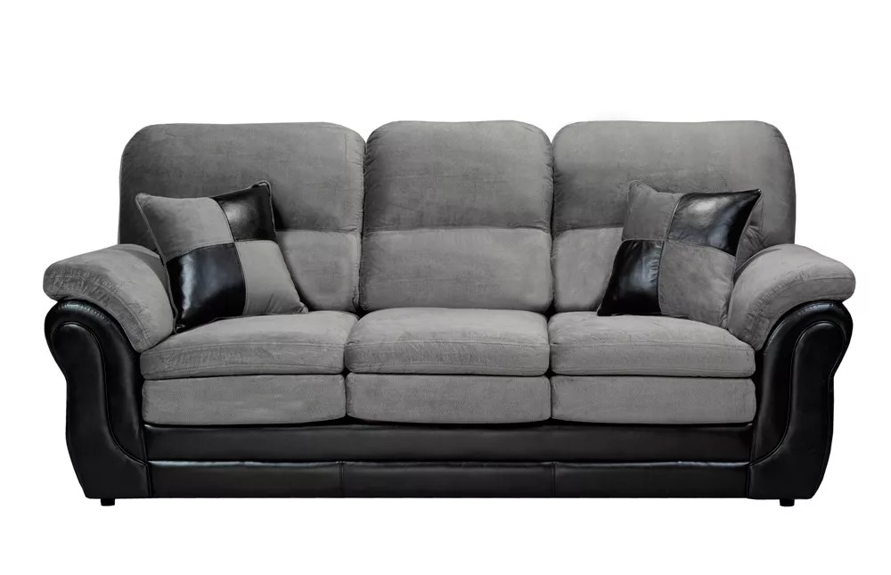 bliss 3 seater pillow arm sofa in missouri grey pampa black