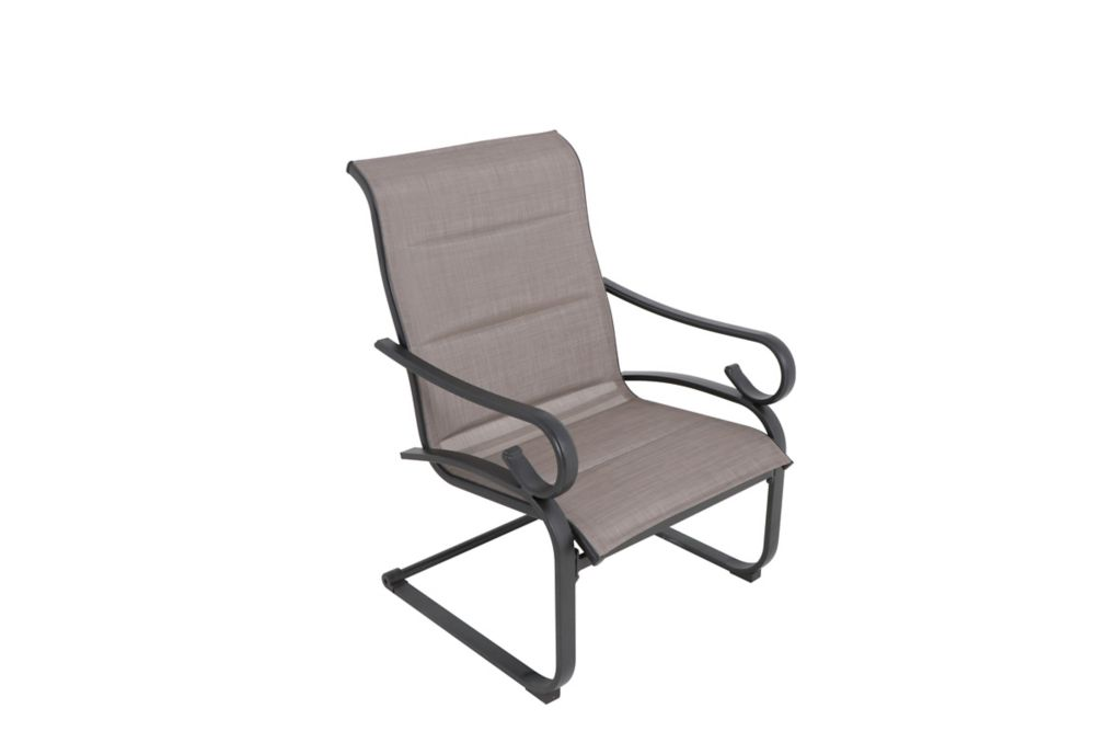 crestridge steel sling padded spring patio lounge chair in putty taupe set of 2