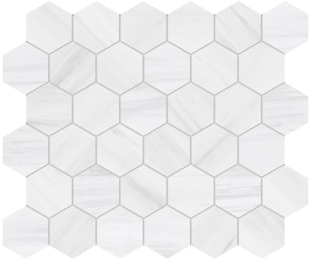 dolomite bianco 2 inch hexagon porcelain mosaics