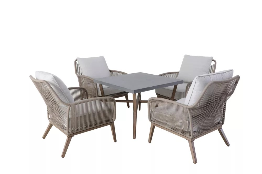 luxley 5 piece all weather wicker string patio chat set with white cushion