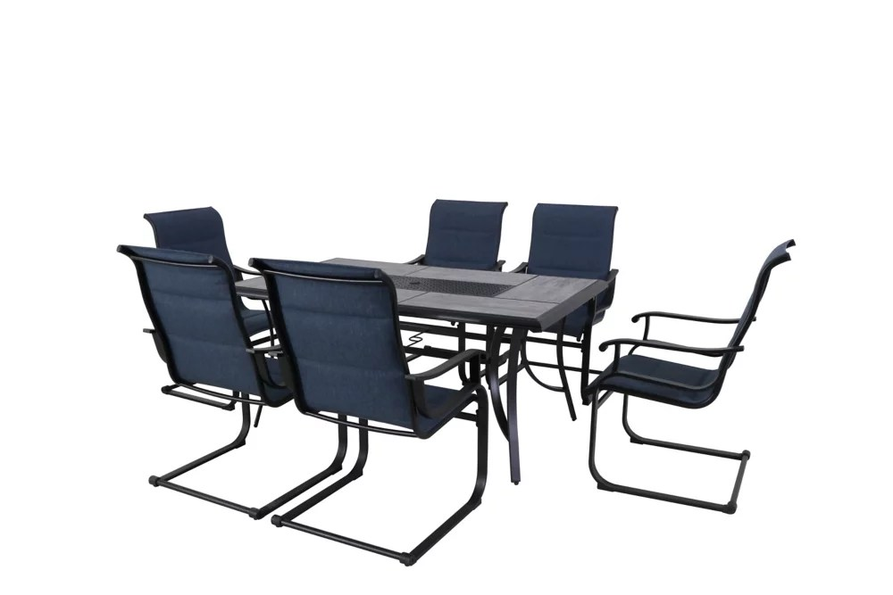 slateford 7 piece steel padded sling patio dining set in midnight blue