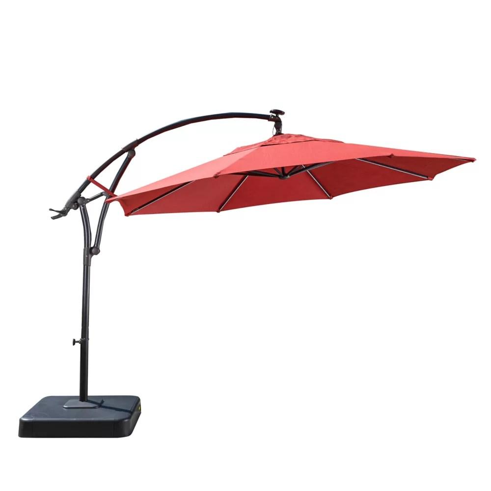 11 ft lightbar offset solar patio umbrella in chili red