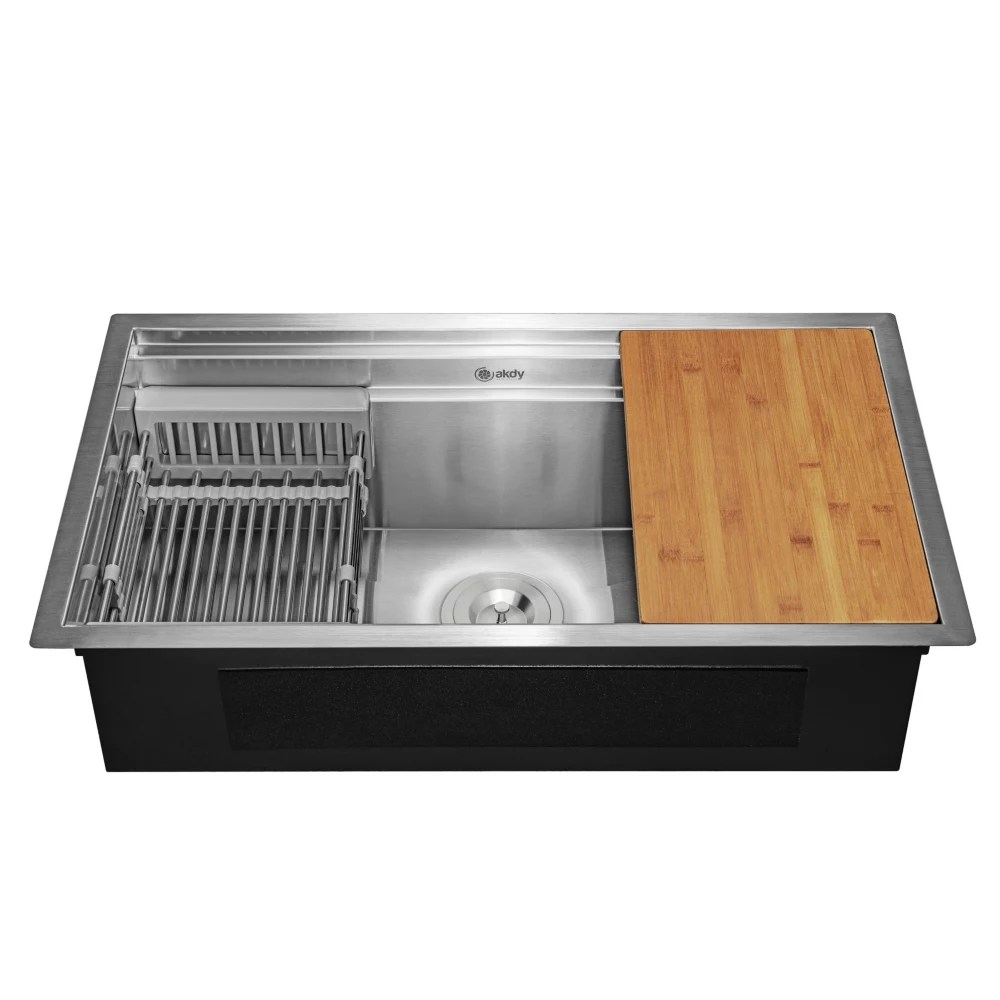 handcrafted under mount 33 inch x22 inch x9 inch single bowl kitchen sink in stainless steel with accessories