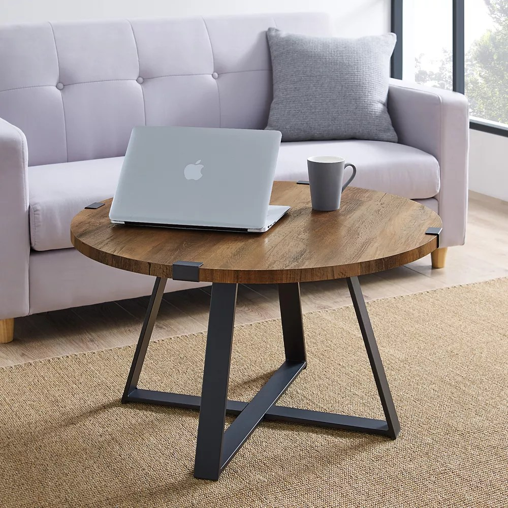 urban industrial 31 inch rustic oak black medium oval mdf coffee table