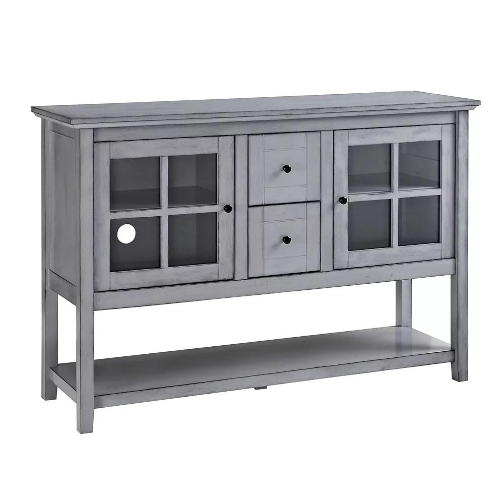 meuble pour televiseur buffet console en bois de 132 cm 52 po gris ancien