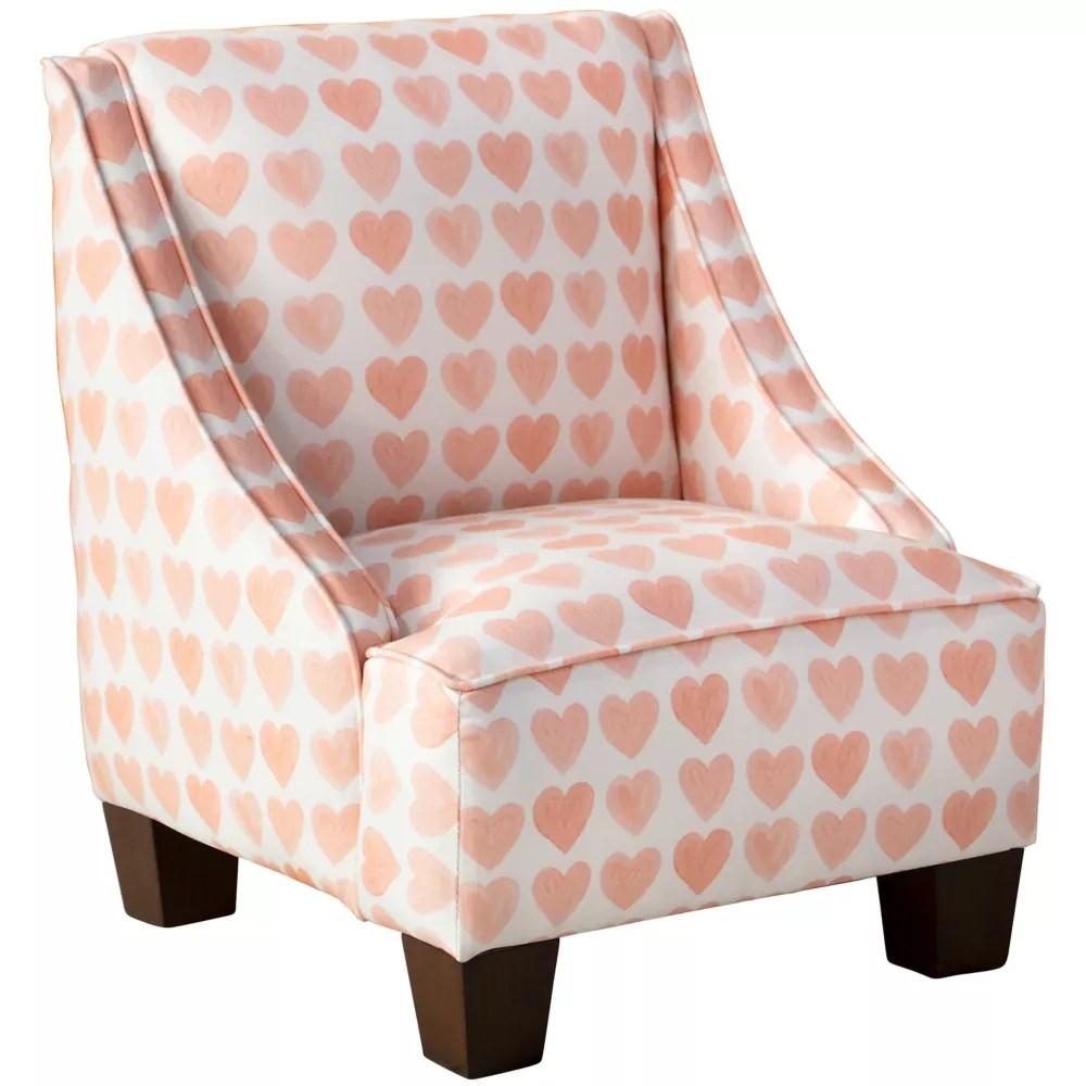 skyline furniture chaise pour enfants hearts peach