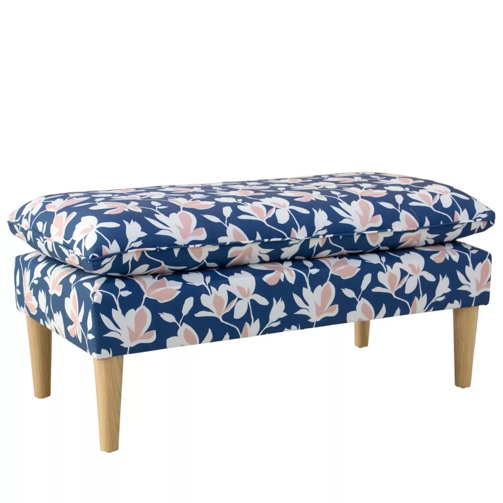 transitional pillow top bench in silhouette floral navy blush oga