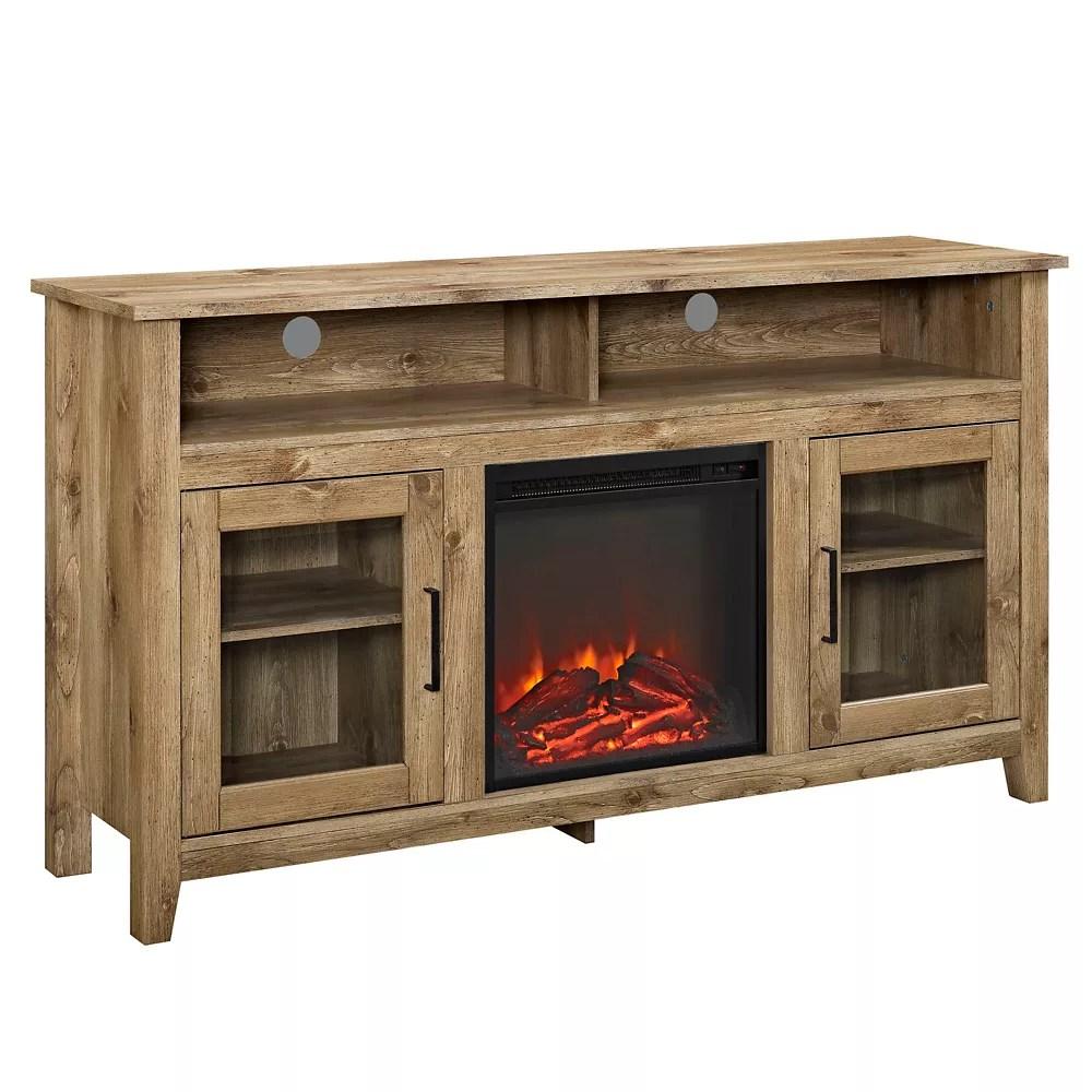 console haute en bois pour televiseur et rangement medias avec cheminee 58 po bois de grange