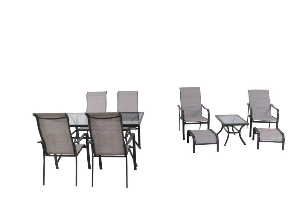 greyhurst 10 piece sling patio dining and chat combination set
