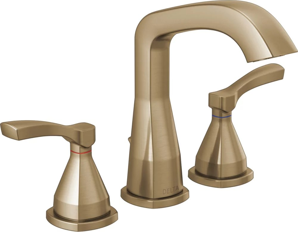 stryke 8 in widespread two handle bathroom faucet with pop up drain in champagne bronze