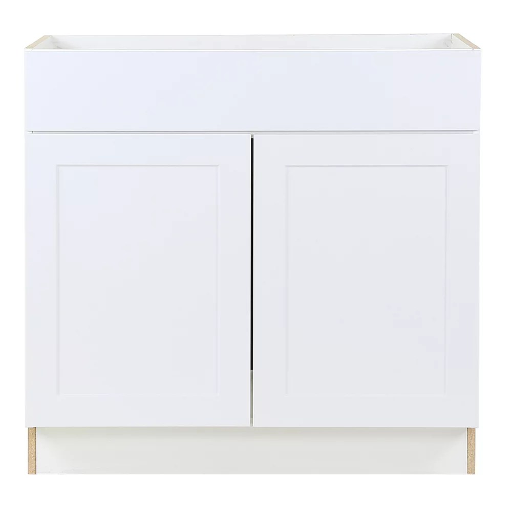 edson 36 inch w x 34 5 inch h x 24 5 inch d shaker style assembled kitchen sink base cabinet cupboard in solid white bs36
